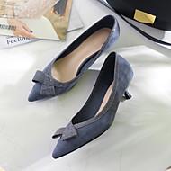 baratos Sapatos Femininos-Mulheres Pêlo Sintético Primavera & Outono Doce Saltos Salto Sabrina Dedo Apontado Laço Preto / Azul Escuro / Nú / Estampa Colorida