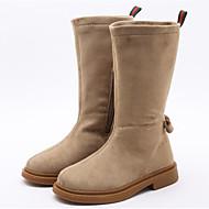 baratos Sapatos de Menina-Para Meninas Sapatos Camurça Outono & inverno Botas da Moda Botas Laço / Ziper para Infantil Preto / Bege / Vermelho / Botas Cano Médio