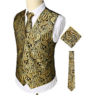 Herrn Arbeit / Klub Geschäftlich / Luxus / Retro Frühling / Herbst / Winter Standard Weste, Paisley-Muster V-Ausschnitt Ärmellos Baumwolle / Elasthan Druck Gold XL / XXL / XXXL / Business-Casual