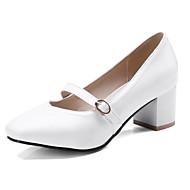 baratos Sapatos Femininos-Mulheres Cetim Primavera Rasos Salto Robusto Branco / Rosa claro / Amêndoa