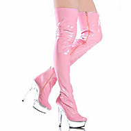 baratos Sapatos Femininos-Mulheres Sapatos Couro Envernizado Outono / Inverno Botas da Moda / Coturnos / Tênis com LED Botas Salto Agulha / Plataforma / Salto Alto