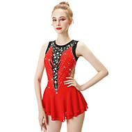 cheap -Figure Skating Dress Women's / Girls' Ice Skating Dress Red Open Back Spandex, Stretch Yarn High Elasticity Professional / Competition Skating Wear Handmade Fashion Sleeveless Ice Skating / Winter