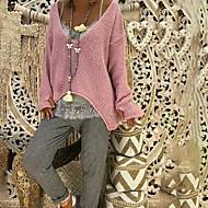 Damen Alltag Übergröße Solide Langarm Standard Pullover Rosa / Beige / Grau XXXL / XXXXL / XXXXXL