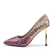 cheap New Arrivals-Women's Synthetics Spring &  Fall Sweet Heels Stiletto Heel Pointed Toe Sequin Black / Purple / Silver / Wedding / Party & Evening / Color Block