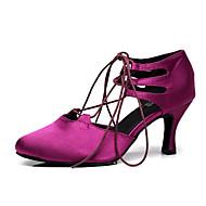 billige Moderne sko-Dame Moderne sko Sateng Sandaler / Høye hæler Utsvingende hæl Kan spesialtilpasses Dansesko Lilla