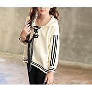 Børn Pige Basale Daglig Ensfarvet Langærmet Normal Bomuld / Polyester Hættetrøje og sweatshirt Beige