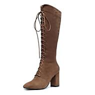 baratos Sapatos Femininos-Mulheres Camurça / Pele de Carneiro Inverno Botas Salto Robusto Dedo Fechado Botas Acima do Joelho Castanho Claro