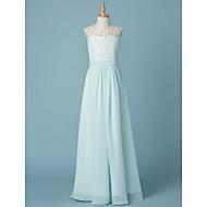 גזרת A צווארון V עד הריצפה שיפון / תחרה שמלה לשושבינות הצעירות  עם אפליקציות / סרט על ידי LAN TING BRIDE® / מסיבת החתונה