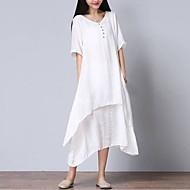 cheap -Women's Asymmetrical Plus Size Daily Weekend Loose Dress - Solid Colored White, Layered V Neck Summer Cotton White XXL XXXL XXXXL