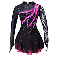 cheap -Figure Skating Dress Women's / Girls' Ice Skating Dress Black Spandex, Lace Competition Skating Wear Handmade Solid Colored / Fashion Long Sleeve Ice Skating / Figure Skating