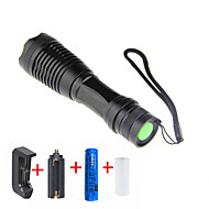 LED Flashlights / Torch LED LED 1 Emitters 2000 lm 5 Mode with Battery and Charger Adjustable Focus Camping / Hiking / Caving Everyday Use Cycling / Bike