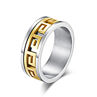 Men's Classic Two tone Band Ring Ring Steel Stainless Stylish Basic Trendy Ring Jewelry Gold / Black For Daily Street 7 / 8 / 9 / 10 / 11