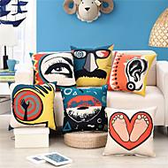 billige Putevar-1 stk Bomull / Lin Putevar / Putecover, Grafiske trykk / Kunstutsmykket / Fjær Abstrakt / Art Deco / Retro