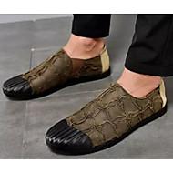 tanie Obuwie męskie-Męskie Komfortowe buty Mikrowłókno Wiosna i jesień Mokasyny i buty wsuwane Czarny / Ciemnobrązowy / Khaki