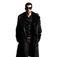 דמוי פרווה בגדי ריקוד גברים שחור חום XXL XXXL 4XL מעיל מקסי מידות גדולות מתוחכם אחיד דש קלאסי / שרוול ארוך / חורף