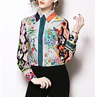Women's Basic Cotton Shirt - Floral Shirt Collar Green M
