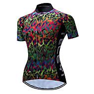 TELEYI Mujer Manga Corta Maillot de Ciclismo - Verde camuflaje Bicicleta Camiseta / Maillot Transpirable Secado rápido Deportes Poliéster Ciclismo de Montaña Ciclismo de Pista Ropa / Elástico