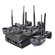 billige Kjente merker-Jooan® 4ch 960p trådløs nvr sikkerhetssystem kit 4 * 1.3mp utendørs ir nattesyn wifi ip kamera cctv med 1 tb hdd