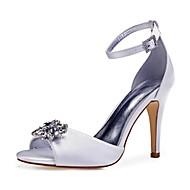 Pentru femei Satin Toamnă / Primavara vara Dulce pantofi de nunta Toc Stilat Pantofi vârf deschis Piatră Semiprețioasă / Sclipici Strălucitor / Cataramă Vișiniu / Maro deschis / Cristal / Nuntă