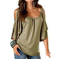cheap -Women's Going out Loose T-shirt - Solid Colored / Summer / Ruffle / Cut Out / Sexy