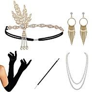Kultahattu 1920-luku Gatsby Asu Naisten Käsineet Flapper-panta Headwear Korvakorut Helmikaulakoru Kultainen / Musta+hopea / Kultainen+musta Vintage Cosplay Party Prom