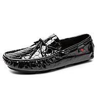 baratos Sapatos Masculinos-Homens Sapatos de couro Pele Primavera & Outono Casual / Formais Sapatos de Barco Massgem Preto