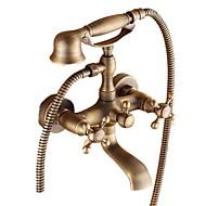 tanie Baterie prysznicowe-Bateria Wannowa - Tradycyjny Mosiądz antyczny Wanna i prysznic Zawór ceramiczny / Dwa uchwyty dwa otwory