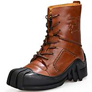 tanie Obuwie męskie-Męskie Fashion Boots Skóra nappa Jesień i zima Vintage / W stylu brytyjskim Botki Zatrzymujący ciepło Kozaki Czarny / Brązowy