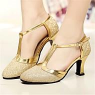 billige Moderne sko-Dame Moderne sko Syntetisk Høye hæler Kubansk hæl Dansesko Gull / Svart / Blå
