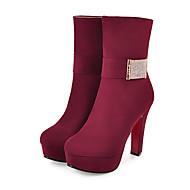 baratos Sapatos Femininos-Mulheres Sintéticos Outono & inverno Vintage / Minimalismo Botas Salto Cone Ponta Redonda Botas Cano Médio Preto / Azul / Vinho