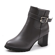baratos Sapatos Femininos-Mulheres Couro Ecológico Inverno Casual Botas Salto Robusto Botas Curtas / Ankle Preto / Cinzento / Marron