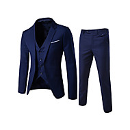 cheap -Men's Daily / Going out / Work Street chic Regular Suits, Solid Colored Notch Lapel Long Sleeve Cotton / Polyester Wine / Light Blue / Light gray 4XL / XXXXXL / XXXXXXL / Business Formal / Slim