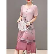 Kadın's Büyük Bedenler Dışarı Çıkma Çin Stili Şifon Elbise - Çiçekli, Desen Midi