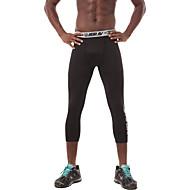 UABRAV בגדי ריקוד גברים מכנסי דחיסה מכנסי ריצה מקוצרים מכנסי ריצה שחור ספורט צבע אחיד אלסטיין בגדים צמודים 3/4 טייץ יוגה כושר וספורט להתאמן לבוש אקטיבי נושם תומך זיעה טייץ סטרצ'י (נמתח) סקיני