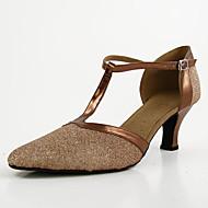 billige Moderne sko-Dame Moderne sko Lær Høye hæler / Joggesko Spenne Kubansk hæl Kan spesialtilpasses Dansesko Svart / Brun