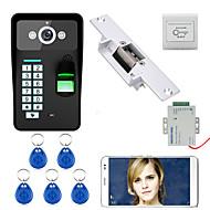 billige Dørtelefonssystem med video-720p trådløs wifi rfid passord fingeravtrykk gjenkjenning video dør telefon doorbel intercom system elektrisk streik lås