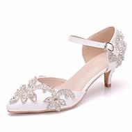 여성용 구두 PU 봄 여름 미니멀리즘 웨딩 슈즈 낮은 굽 뾰족한 발가락 결혼식 용 크리스탈 / 버클 화이트