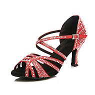 Női Latin cipők Szatén Magassarkúk Strasszkő Kúpsarok Dance Shoes Fekete / Piros