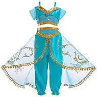 Princess Jasmine Cosplay Kostymer / Dräkter Barn Flickor Halloween Jul Halloween Karnival Festival / högtid Tyll Polyster Grön Karnival Kostymer Prinsessa