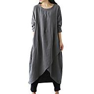 Dame Store størrelser Grunnleggende Løstsittende Tunik Kjole - Ensfarget Asymmetrisk