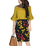 Women's Work Basic Flare Sleeve Blouse Print High Rise Skirt / Summer