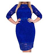 فستان نسائي قياس كبير ثوب ضيق أساسي دانتيل طول الركبة لون سادة خصر عالي رقبة عالية مدورة / مثير
