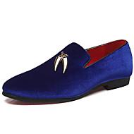 Муж. Официальная обувь Шёлк Весна Деловые / На каждый день Мокасины и Свитер Нескользкий Черный / Красный / Синий