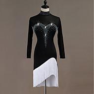 cheap -Latin Dance Dresses Women's Performance Spandex Tassel / Crystals / Rhinestones Long Sleeve Dress