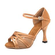Γυναικεία Παπούτσια χορού λάτιν Σατέν Πέδιλα / Αθλητικά Αγκράφα Λεπτή ψηλή τακούνια Εξατομικευμένο Παπούτσια Χορού Καφέ
