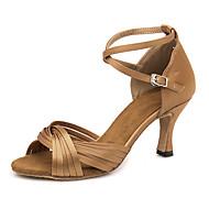 billige Sko til latindans-Dame Sko til latindans Sateng Sandaler / Joggesko Spenne Slim High Heel Dansesko Brun