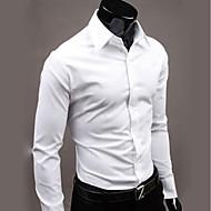 男性用 ワーク シャツ ビジネス / ベーシック レギュラーカラー ソリッド カーキ色 XL / 長袖