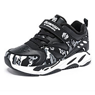 baratos Sapatos de Menino-Para Meninos Sapatos Couro Inverno Conforto Tênis Corrida Velcro para Infantil Preto / Azul Escuro / Preto / Vermelho / Estampa Colorida