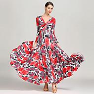 Επίσημος Χορός Φορέματα Γυναικεία Εκπαίδευση / Επίδοση Τεχνητό Μετάξι Σχέδιο / Στάμπα Μακρυμάνικο Ψηλό Φόρεμα
