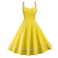 Mujer Fiesta Vintage Elegante Corte Swing Vestido Un Color Alta cintura Hasta la Rodilla Con Tirantes / Sexy